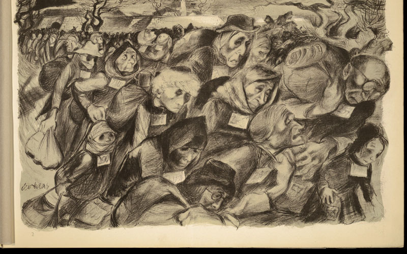 Lithograph by Leo Haas (1901-1983), Holocaust artist, who survived Theresienstadt and Auschwitz' photo (c) 2010, Center for Jewish History, NYC.