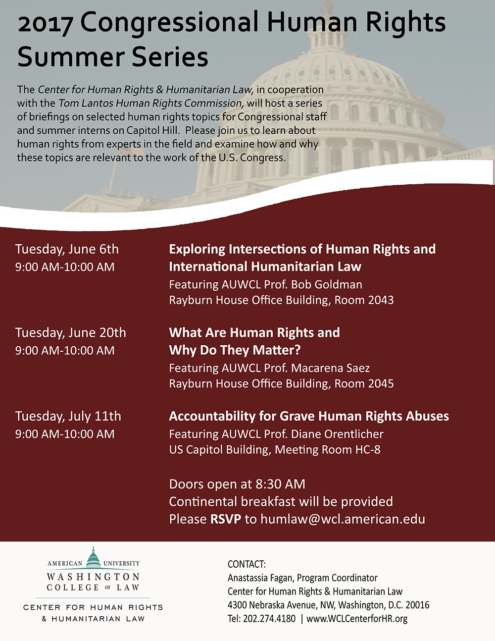 2017 Congressional Human Rights Summer Series Graphic